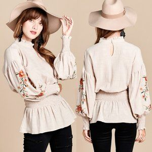 Boho Floral Embroidered Balloon Sleeves Blouse Top